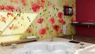 Фотообои для ванной комнаты красные цветы