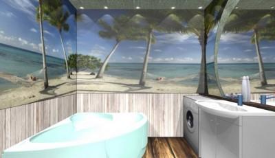 Фотообои для ванной комнаты пальмы песок