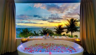 Фотообои для ванной комнаты пальмы закат