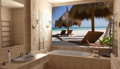 Фотообои для ванной комнаты пляж