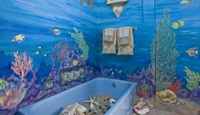 Фотообои для ванной комнаты подводный мир