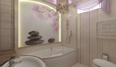 Фотообои для ванной комнаты сакура камни