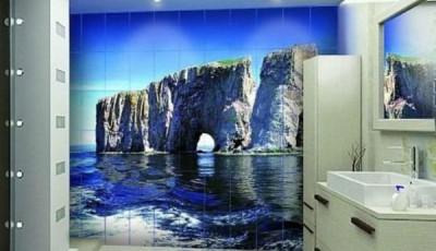 Фотообои для ванной комнаты скалы