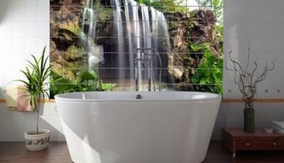 Фотообои для ванной комнаты водопад