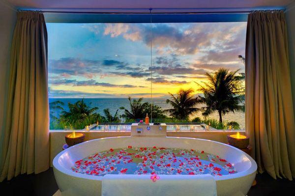 Фотообои вид на море в ванной комнате