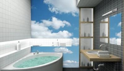 фотообои в ванной комнате небо