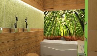 фотообои в ванную зеленый лес