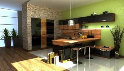 салатовые обои для кухни