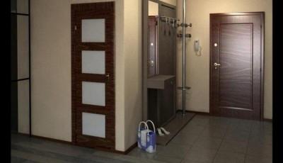 темные двери в прихожей с более светлыми обоями на стенах
