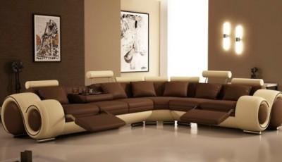 комбинированные бежевые и коричневые обои для зала 2016