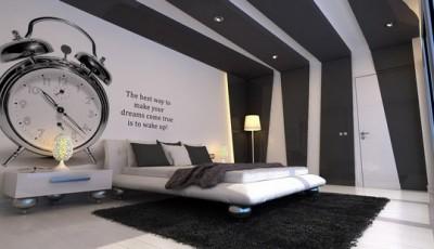 модные черные и белые комбинированные обои для спальни 2016