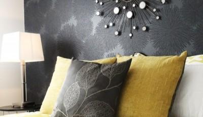 модные черные обои с цветами для спальни 2016