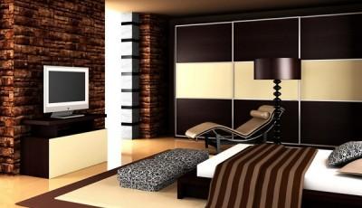 модные коричневые и бежевые обои 2016 для зала
