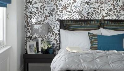 модные обои 2016 с цветочным узором для спальни