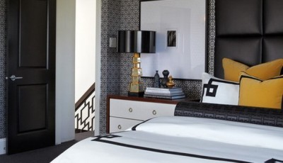 модные серые обои с узором для спальни 2016 года