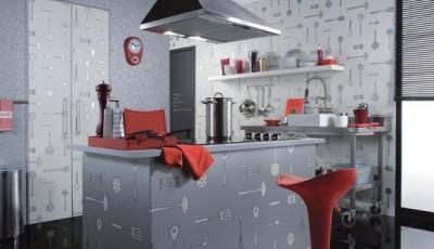 серые дизайнерские обои для кухни 2016