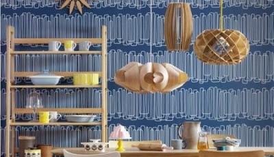 синие модные обои для кухни 2016