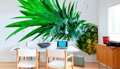 Фотообои 3д на кухню ананас
