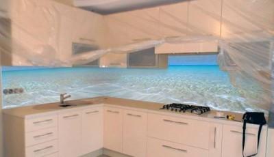 Фотообои 3д на кухню берег