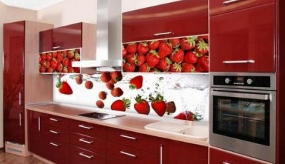 Фотообои 3д на кухню клубника