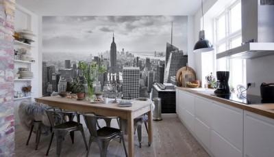 Фотообои 3д на кухню небоскребы
