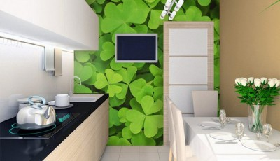 Фотообои 3д на кухню зеленые листья