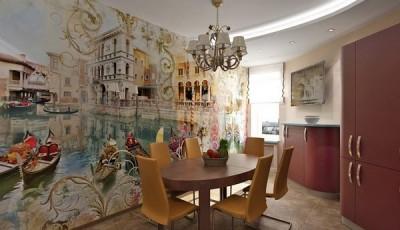 Фотообои для кухни возле стола Венеция