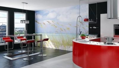 Фотообои для кухни возле стола берег песок