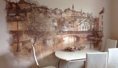 Фотообои для кухни возле стола красивый старый город