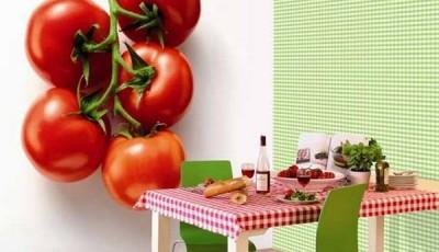 Фотообои для кухни возле стола помидоры