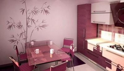 Фотообои для кухни возле стола розовые