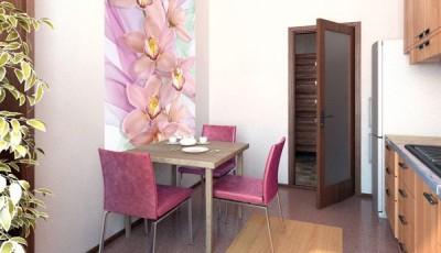 Фотообои для кухни возле стола цветы