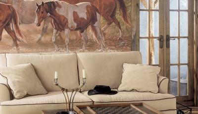 Фотообои лошади на стену в гостиной