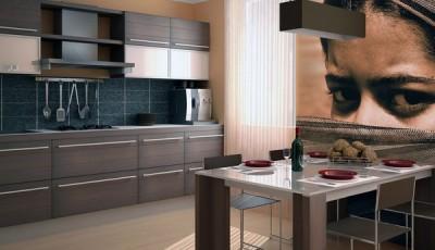 Фотообои в кухне над столом портрет