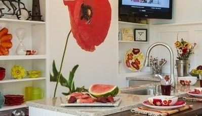фотообои для кухни для кухни ярко красные цветы