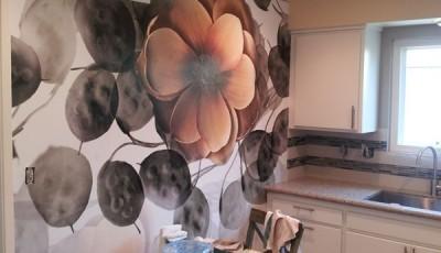фотообои для кухни коричневые цветы