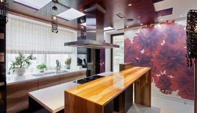 фотообои для кухни пурпурные цветы