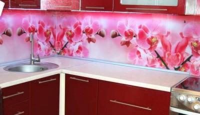 фотообои для кухни розовые цветы