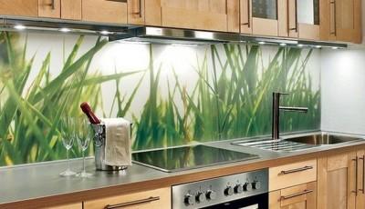 фотообои для кухни с зеленой травой