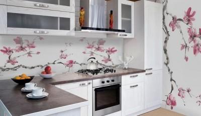 фотообои для кухни ветка сакуры