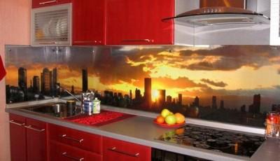 фотообои для кухни закат в городе