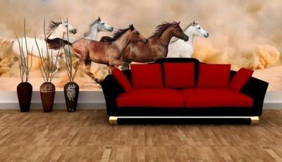 фотообои кони в гостиной
