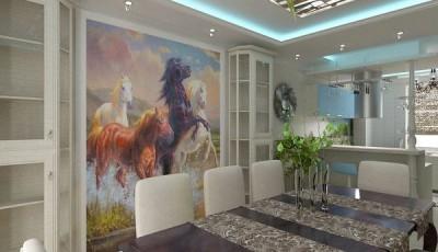 фотообои лошади на кухне