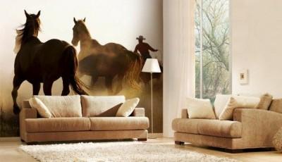 фотообои лошади на стенах комнаты