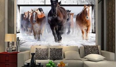 фотообои лошади в гостиной