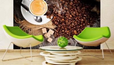 Фотообои чашка кофе зеленые стулья
