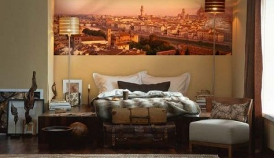 Фотообои город над кроватью