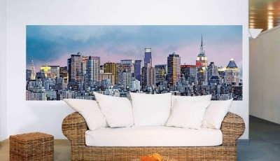 Фотообои город в гостиной