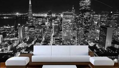Фотообои город в гостиной черно белые