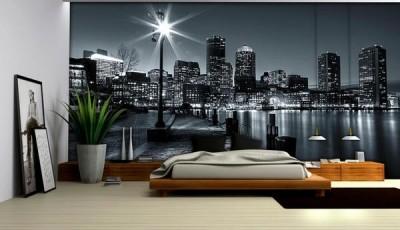 Фотообои город в спальне